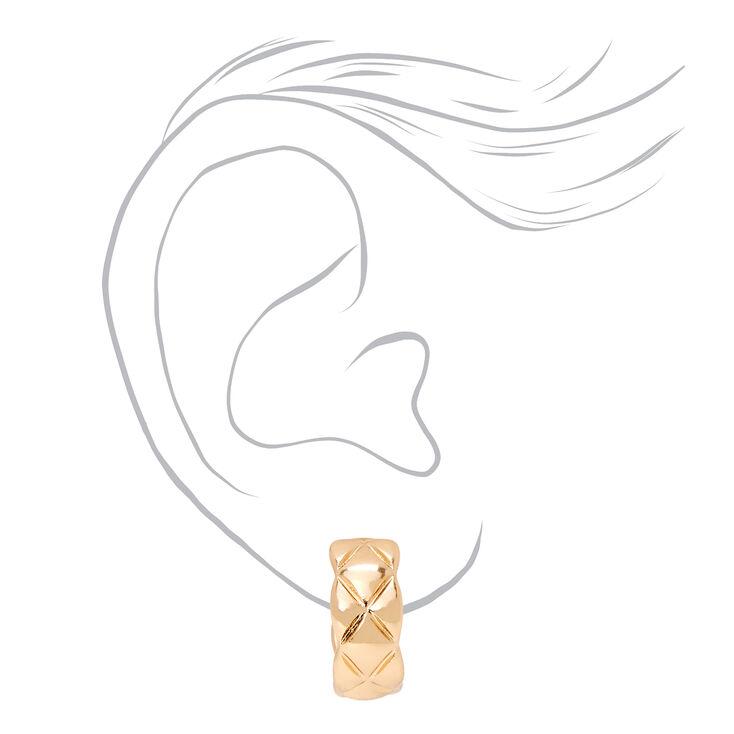 Gold 20MM Quilted Hoop Earrings,