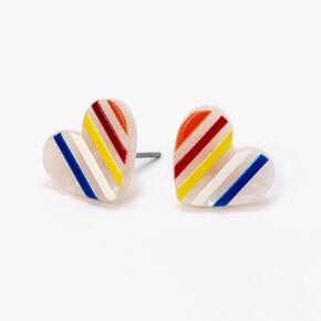 Marble Rainbow Striped Heart Stud Earrings,