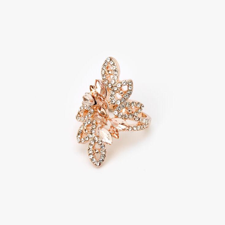 Rose Gold Embellished Flower Burst Ring,