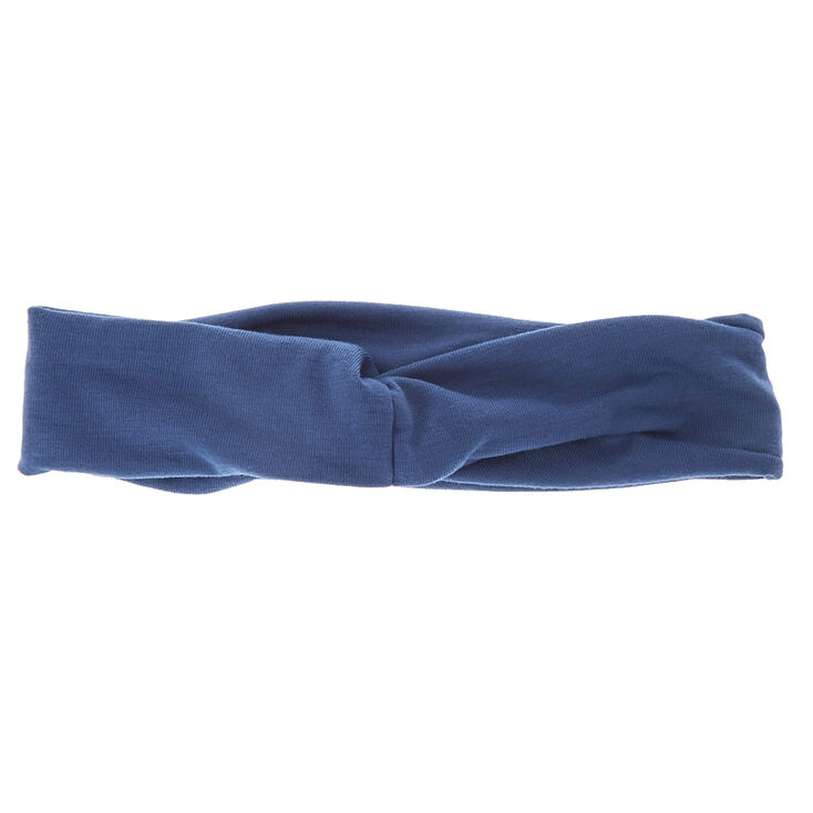 Bandeau en jersey large bleu,