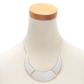 Silver Glitter Collar Statement Necklace,