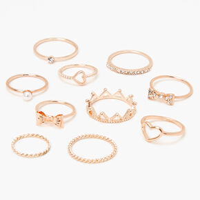 Rose Gold Royally Romantic Rings - 10 Pack,