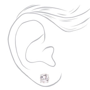 Silver Cubic Zirconia Round Stud Earrings - 6MM, 7MM, 8MM,