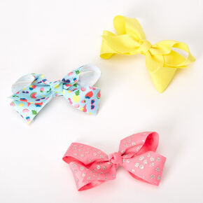 Claire's Club Summer Fun Bow Hair Clips - 3 Pack,