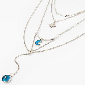 Collier multi-rangs en Y céleste couleur argentée - Bleu,