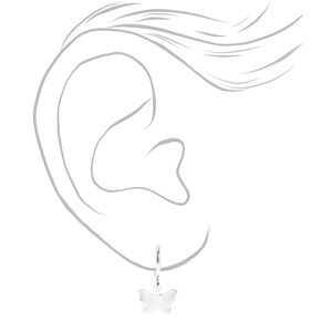 Silver 3D Butterfly Pendant Jewelry Set - 2 Pack,