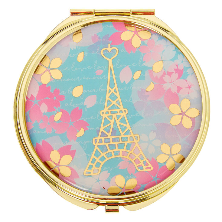 Eiffel Tower Floral Compact Mirror,