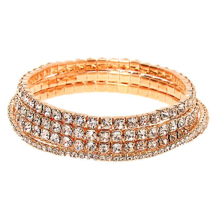 Rose Gold Rhinestone Stretch Bracelets - 5 Pack,