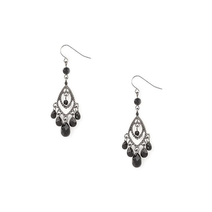 Black Crystal Dangle Silver Chandelier Earrings