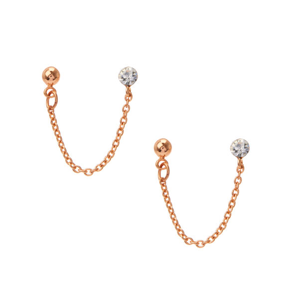 Claire's - 18kt rose plated connector stud earrings - 1