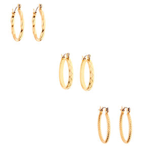 Gold 20MM Textured Hoop Earrings - 3 Pack,