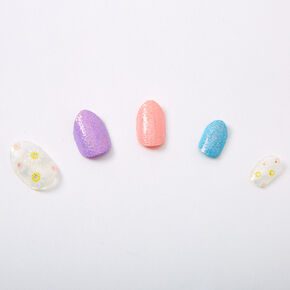 Glitter Pastel Flowers Stiletto Press On Faux Nail Set - 24 Pack,