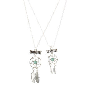 2 Pack Big Sis Lil Sis Dreamcatcher Necklaces,