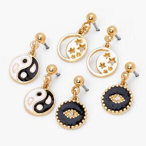 Gold Dangly Evil Eye Star & Yin Yang Stud Earrings - Black, 3 Pack,