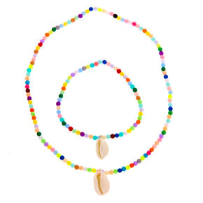 Claire's Club Rainbow Cowrie Shell Jewellery Set - 2 Pack,