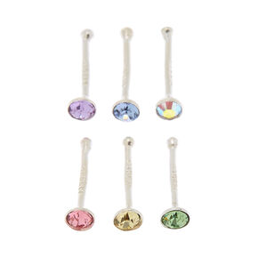 Sterling Silver Swarovski® Elements 22G Nose Studs - 6 Pack,