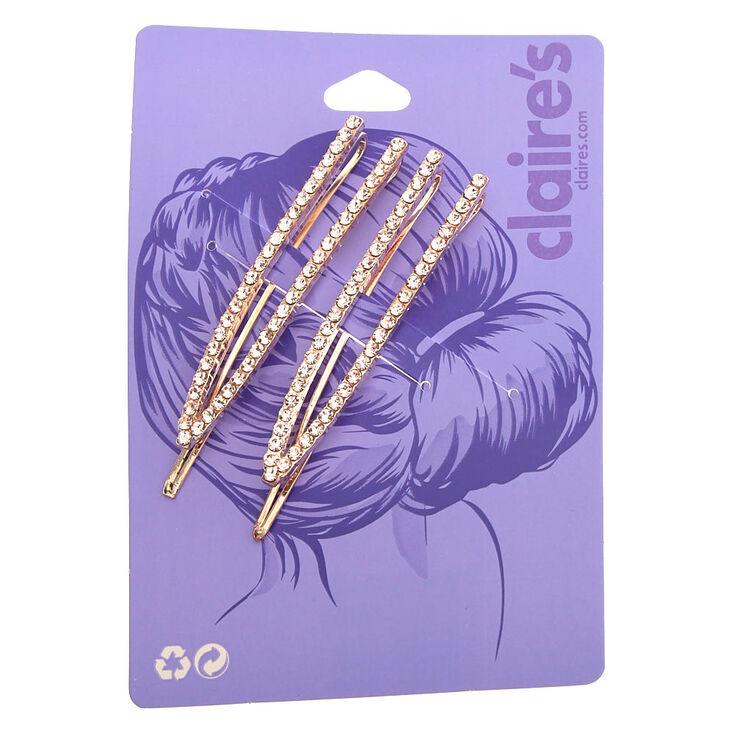 Rose Gold Rhinestone Open Bobby Pins - 2 Pack,