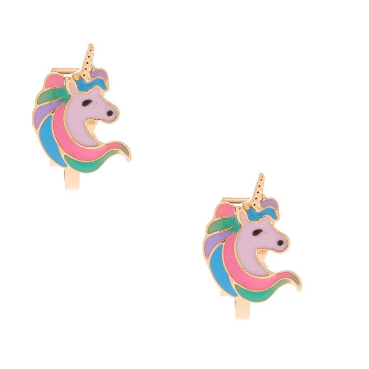 Gold Pastel Unicorn Clip On Earrings,