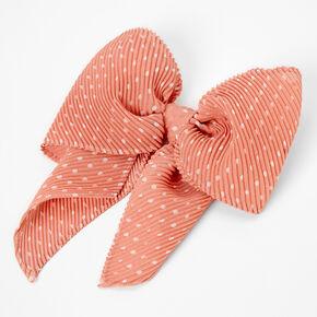 Pleated Polka Dot Hair Bow Clip - Blush,