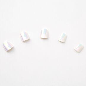 Faux ongles autocollants carrés blancs holographiques - Lot de 24,