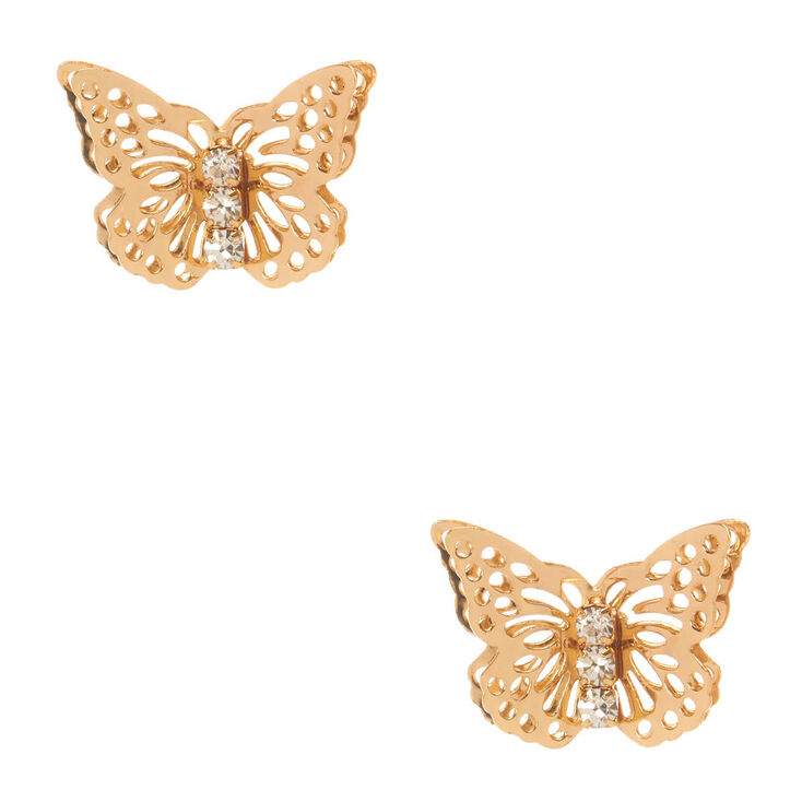 159d39764 Gold Butterfly Stud Earrings | Claire's US