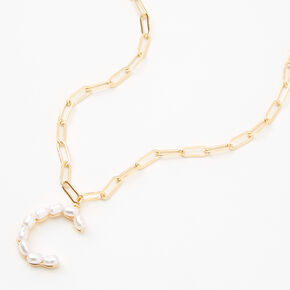 Gold Pearl Initial Pendant Necklace - C,