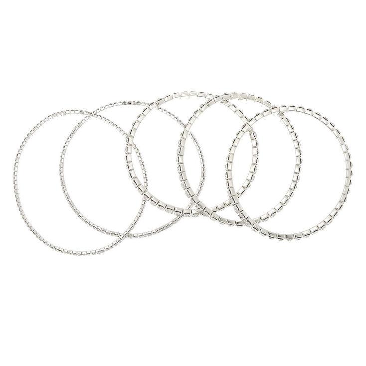 Silver Rhinestone Stretch Bracelets - 5 Pack,