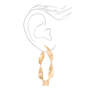 Gold 60MM Ribbon Twist Hoop Earrings,