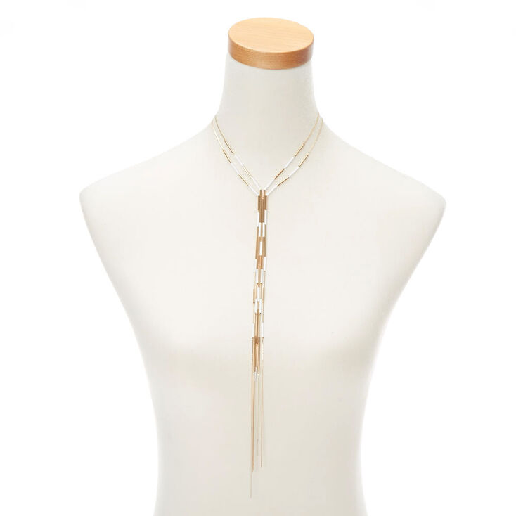 Gold Bar Long Multi Strand Necklace - White,