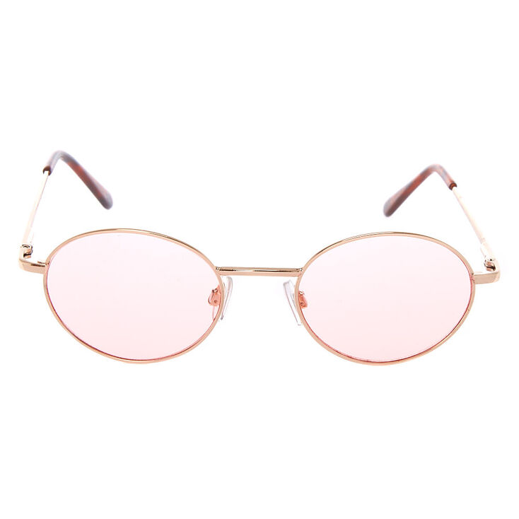 Gold Oval Sunglasses - Pink,