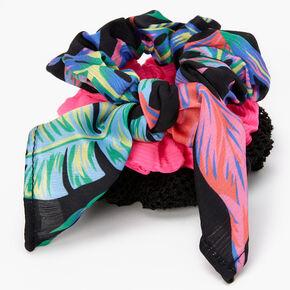Tropical Print Bow Hair Scrunchies - 3 Pack,