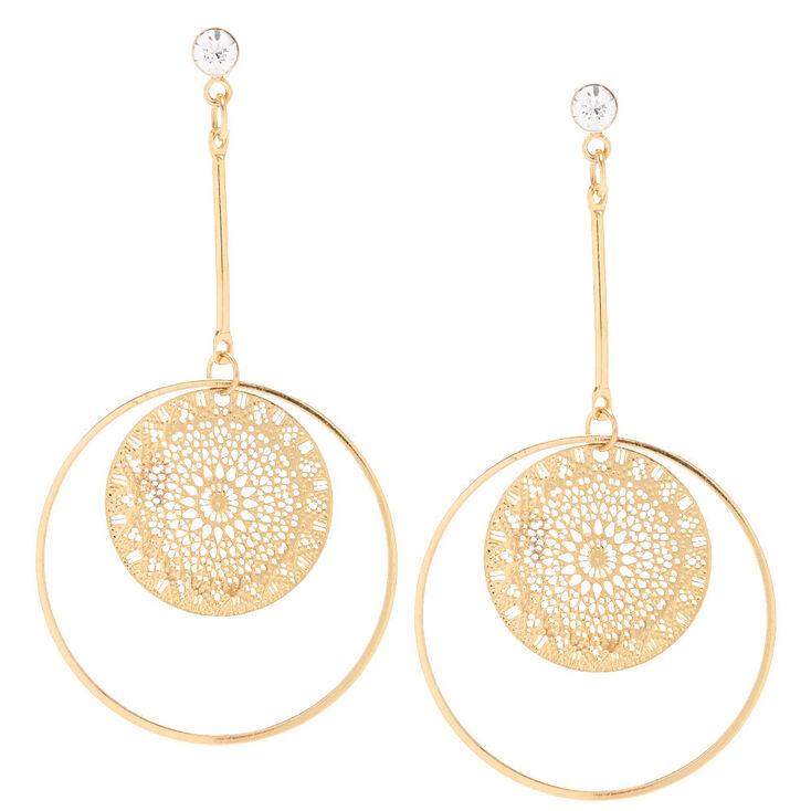 Gold Filigree Circle Drop Earrings