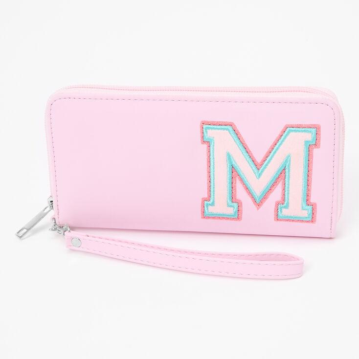 Pink Varsity Initial Wristlet - M,