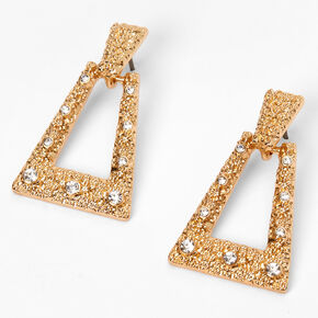 "Gold 1"" TriangleTextured Door Knocker Drop Earrings,"
