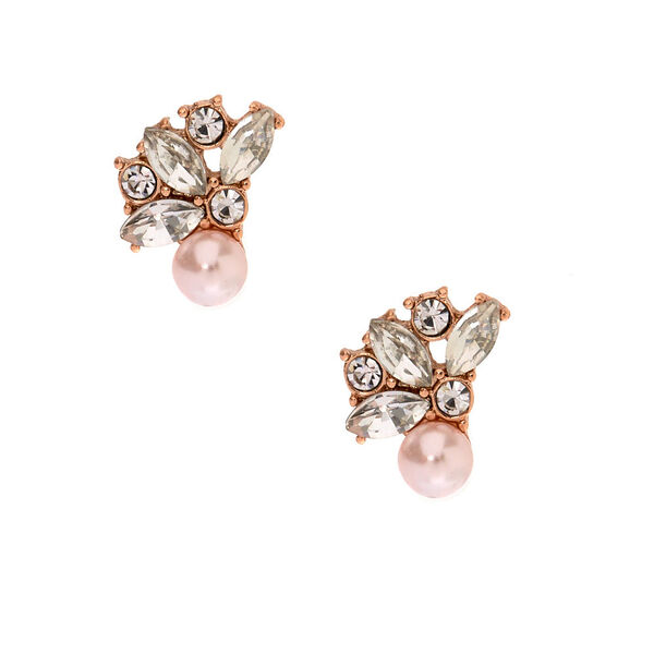 Claire's - glass pearl crystal cluster earrings - 1