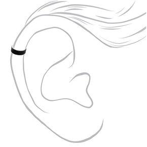 Manchette d'oreille à paillettes couleur argenté - Noir,