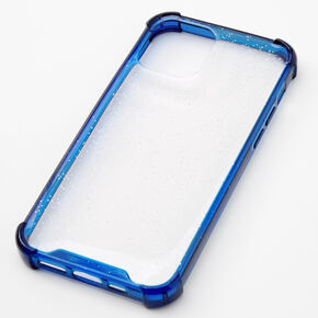 Clear Blue Glitter Protective Phone Case - Fits iPhone 12/12 Pro,