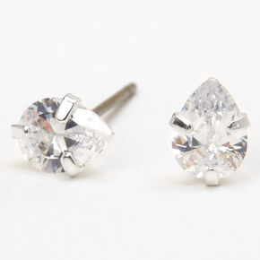 Silver Cubic Zirconia Teardrop Stud Earrings - 5MM,