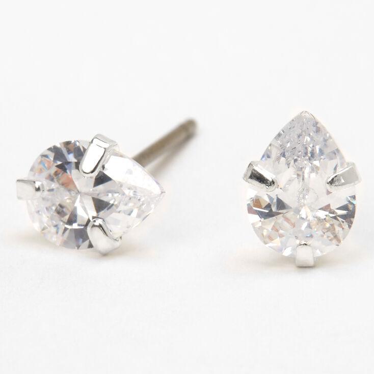 Silver Cubic Zirconia Teardrop Stud Earrings - 5MM,