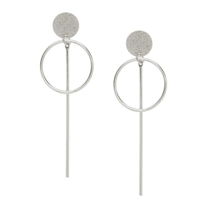 Silver Tone Geometric Drop Stud Earrings,