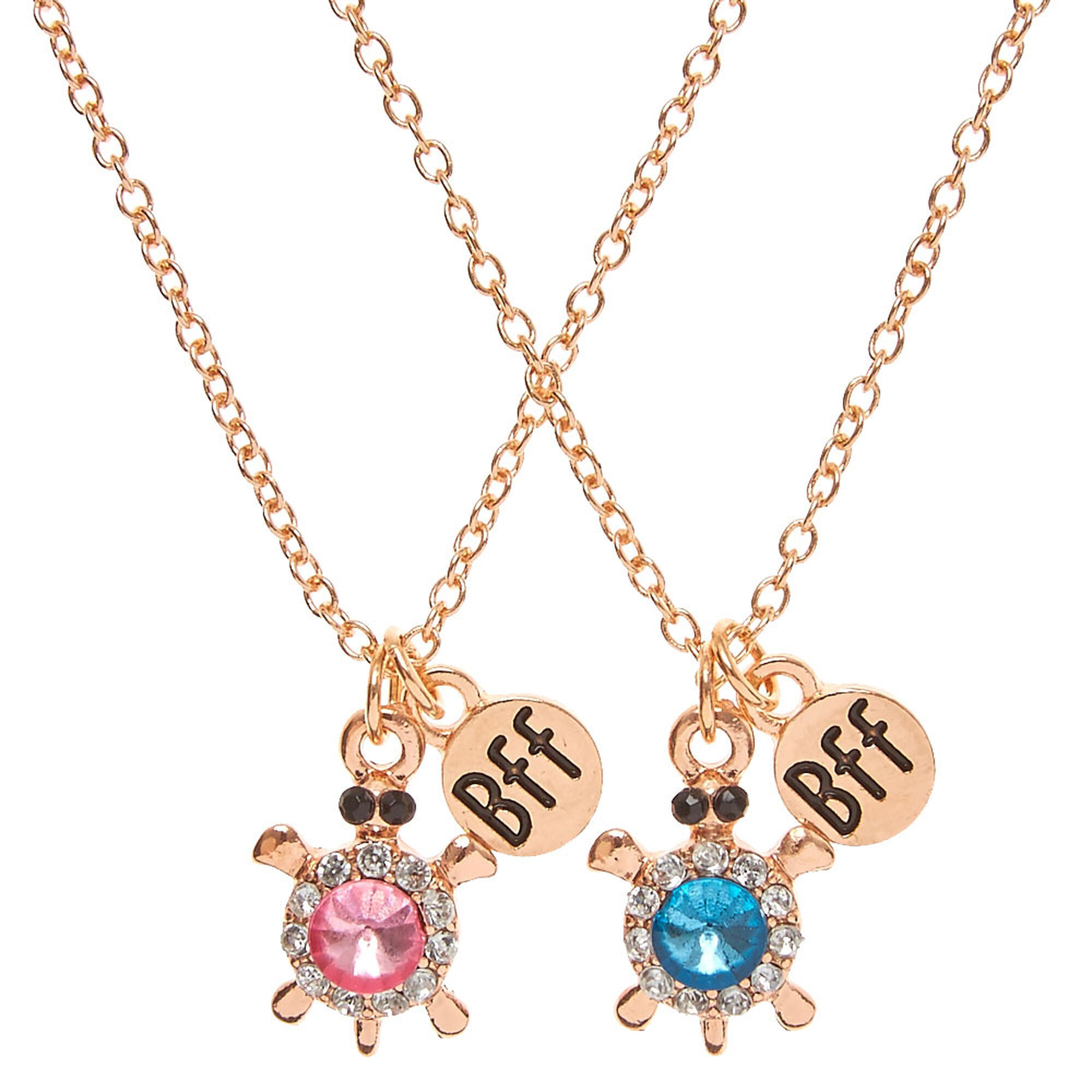 Best friends rose gold tone crystal turtle pendant necklaces claires best friends rose gold tone crystal turtle pendant necklaces aloadofball Choice Image