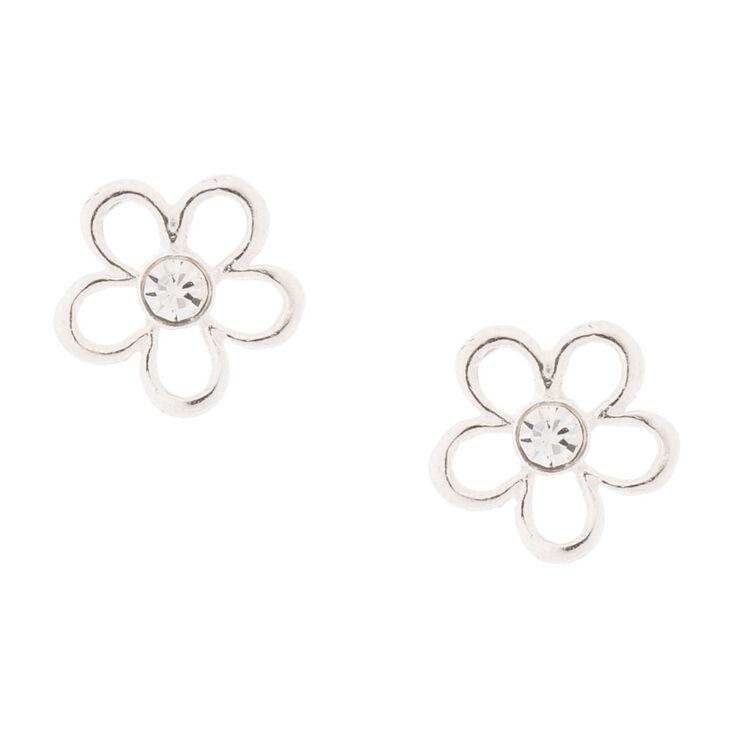 Sterling Silver Crystal Flower Stud Earrings
