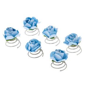 Mini Rose Flower Hair Spinners - Blue, 6 Pack,