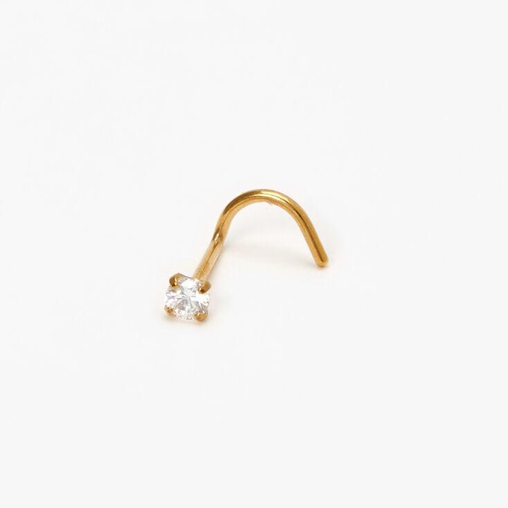 Gold Titanium 20G Crystal Prong Nose Stud,