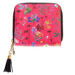 Mini porte-monnaie à zip floral - Rose,