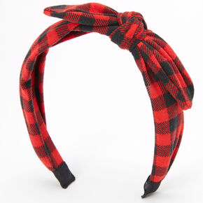 Red & Black Plaid Knotted Bow Headband,