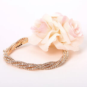 Rose Gold Rhinestone Twisted Flower Corsage - Pink,