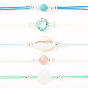 Bracelets strass et coquillage en filigrane couleur argentée - Bleu, lot de 5,