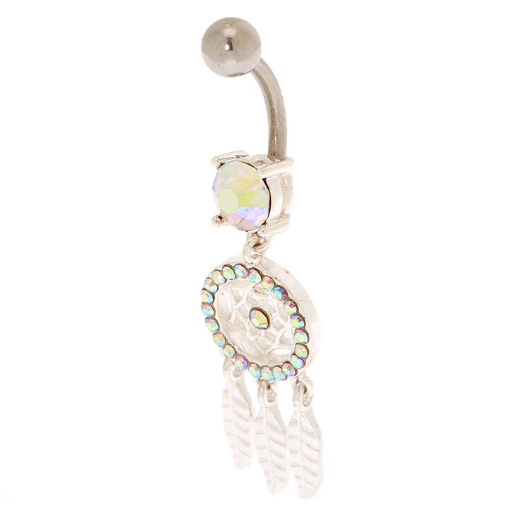 Stainless Steel And Stone Dreamcatcher Belly Ring