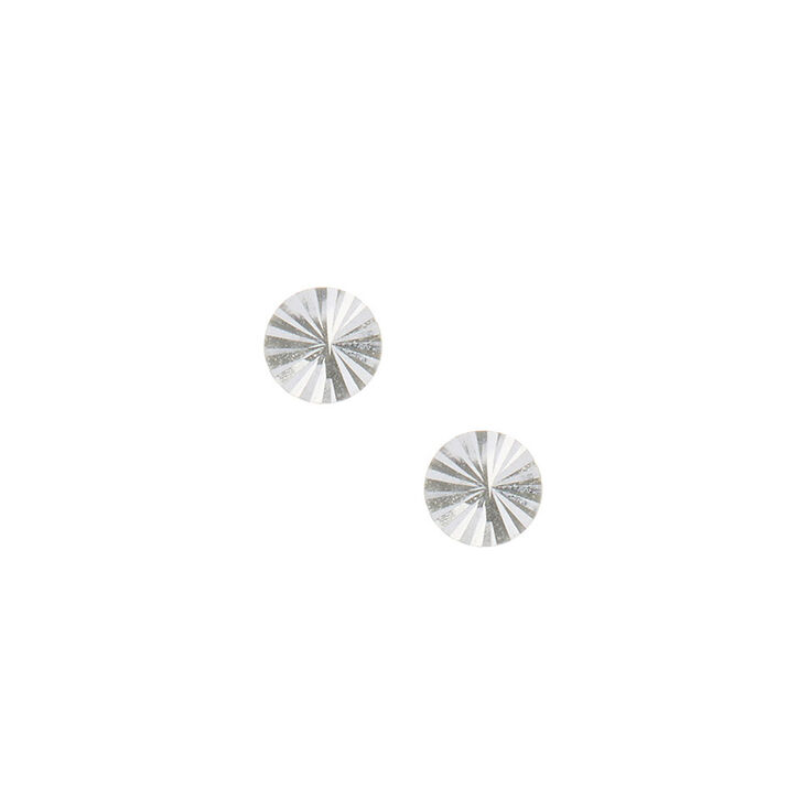 Sterling Silver Diamond Circle Cut Stud Earrings Claire S Us